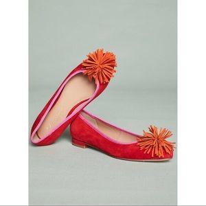 Anthropologie Suede Pommed Ballet Flats Size 39(9)